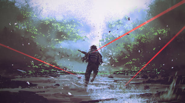 running away from the enemy's attack vector art illustration