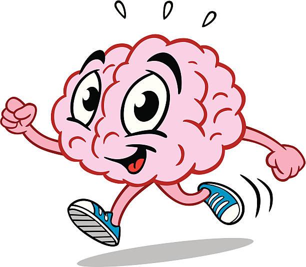Running Brain vector art illustration