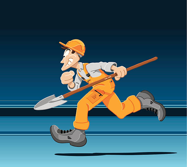 """Running Construction Worker """"Vector Illustration of a running construction worker. The background is on a separate layer, so you can use the illustration on your own background. The colors in the .eps-file are ready for print (CMYK). Included files: EPS (v8) and Hi-Res JPG."""" running stock illustrations"""