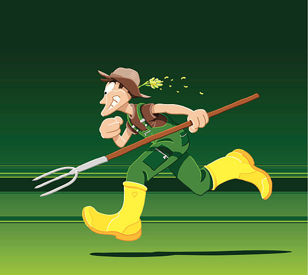 """Running Farmer """"Vector Illustration of a running farmer. The background is on a separate layer, so you can use the illustration on your own background. The colors in the .eps-file are ready for print (CMYK). Included files: EPS (v8) and Hi-Res JPG."""" running stock illustrations"""