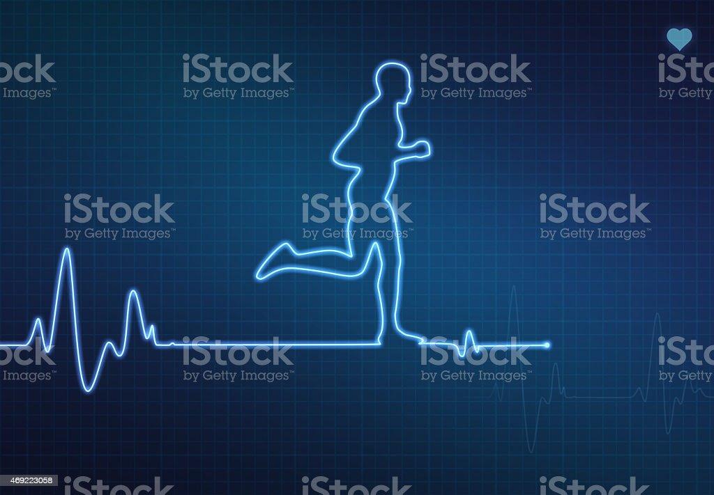 Running Healthy Heart vector art illustration