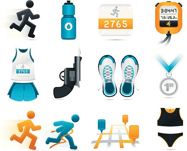 running-symbole - langstreckenlauf stock-grafiken, -clipart, -cartoons und -symbole