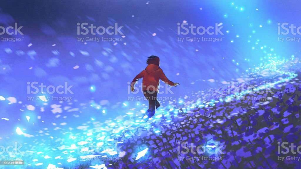 running on the blue meadow vector art illustration