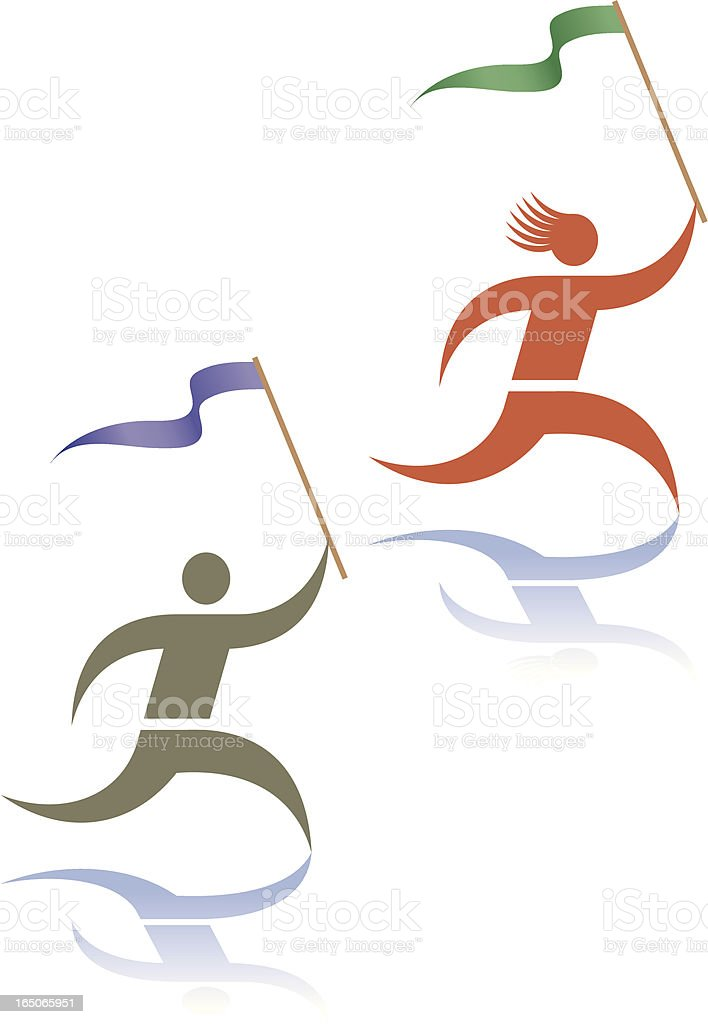 Running people with flags vector art illustration