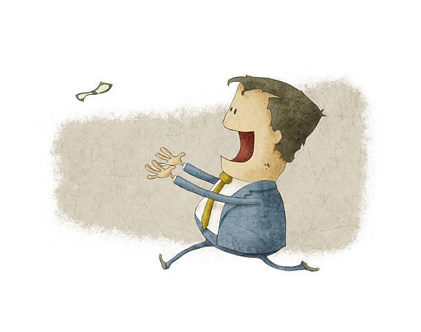running to catch a dollar vector art illustration