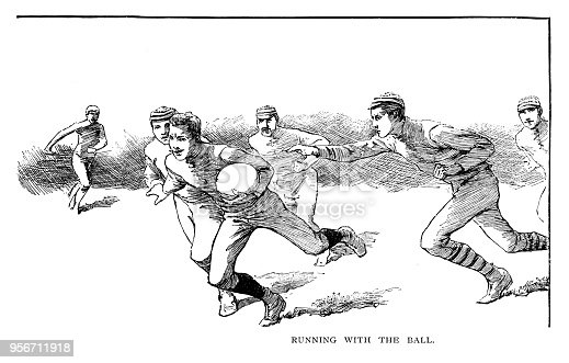 Running with the ball - Scanned 1887 Engraving