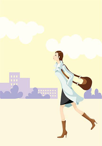 ilustrações de stock, clip art, desenhos animados e ícones de mulher corrida - young woman running city
