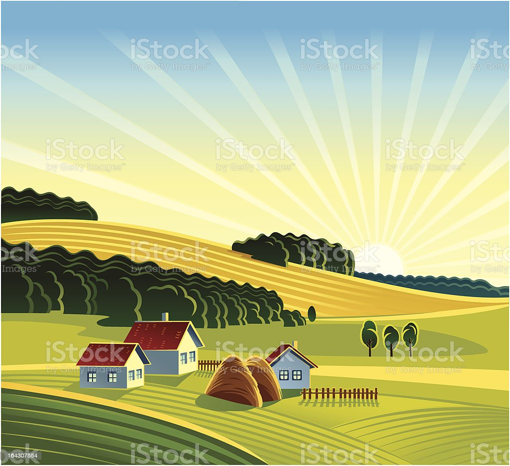 Rural landscape royalty-free stock vector art