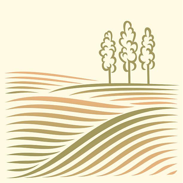 Ländliche Landschaft mit Feldern und Baum – Vektorgrafik