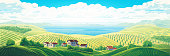 Rural panoramic landscape with a village and hills with gardens and fruit trees. Raster illustration.
