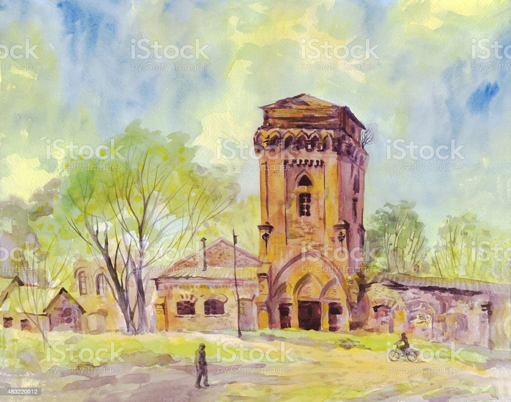 Old Gothic Tower Painting Watercolor Royalty Free Stock Vector