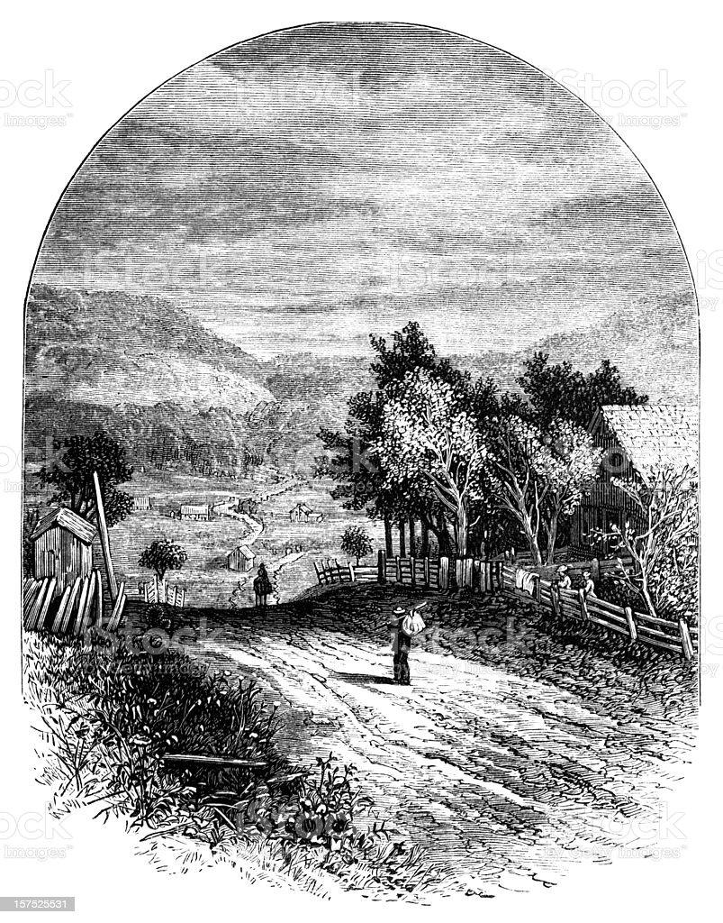 Rural village scene - Victorian illustration royalty-free stock vector art