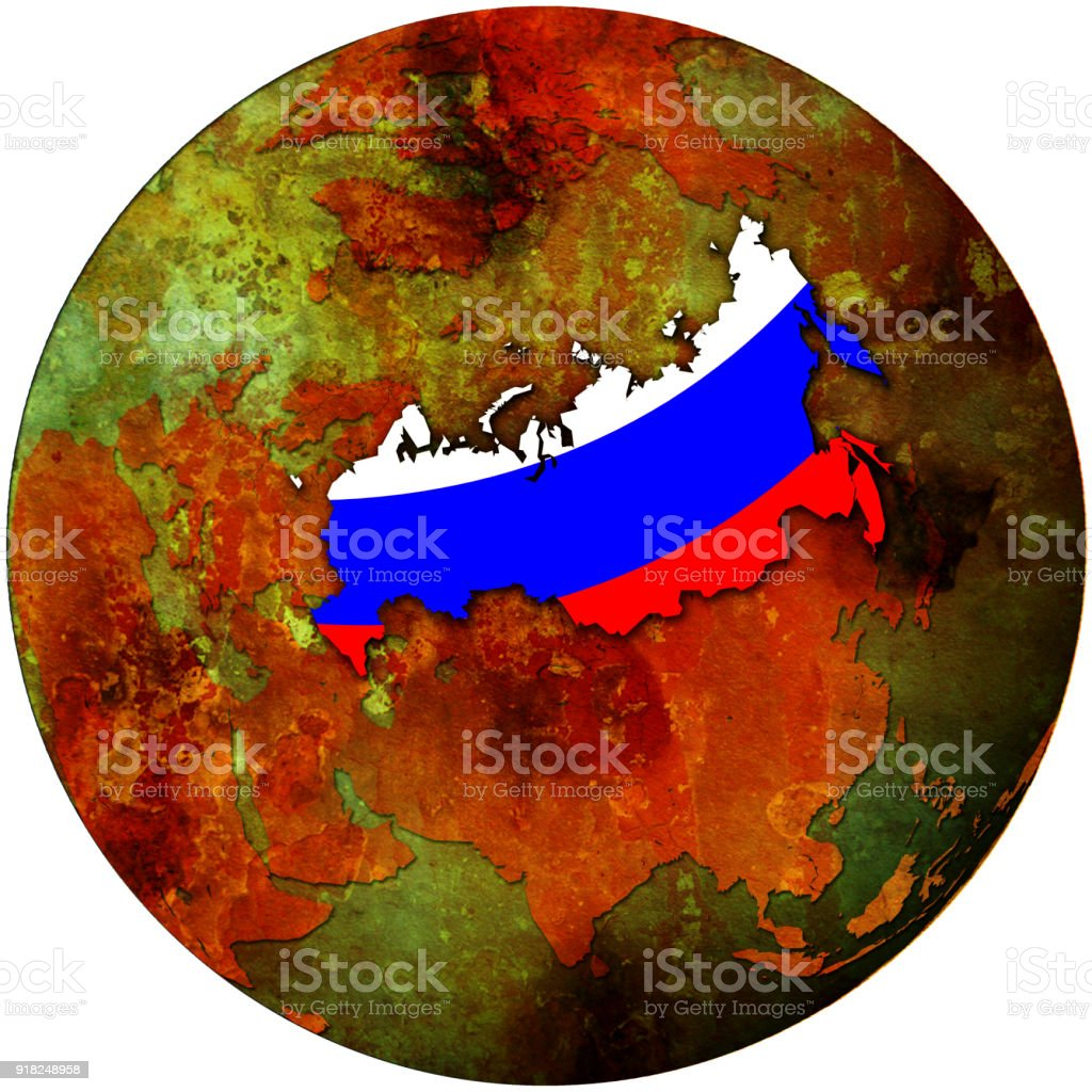 Russia flag on map of earth globe stock vector art more images of russia flag on map of earth globe royalty free russia flag on map of earth gumiabroncs Images