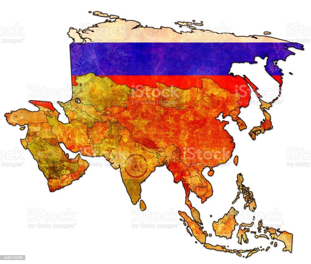 Karte Russland Asien.Russland Flagge Auf Politische Landkarte Asiens Stock Vektor