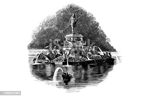 Illustration of a Russia, Peterhof, Upper Park, Neptune Fountain