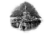 Illustration of a Russia, Peterhof, Upper Park, Neptune Fountain