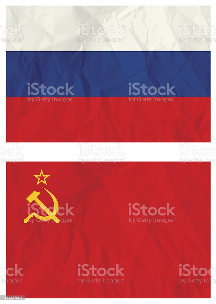 Russian falg and old USSR flag vector art illustration