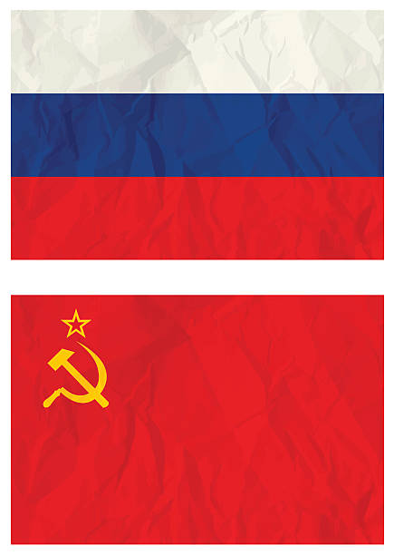 russian falg and old ussr flag - russian flag stock illustrations, clip art, cartoons, & icons
