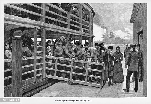 Beautifully Illustrated Antique Engraved Victorian Illustration of Russian Immigrants Landing in New York City, 1892. Source: Original edition from my own archives. Copyright has expired on this artwork. Digitally restored.