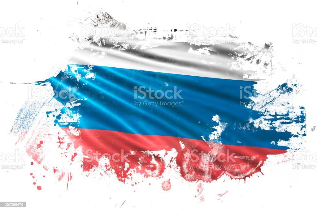 Russian Ink Grunge Flag vector art illustration