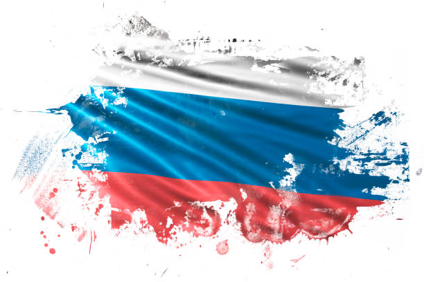 russian ink grunge flag - russian flag stock illustrations, clip art, cartoons, & icons