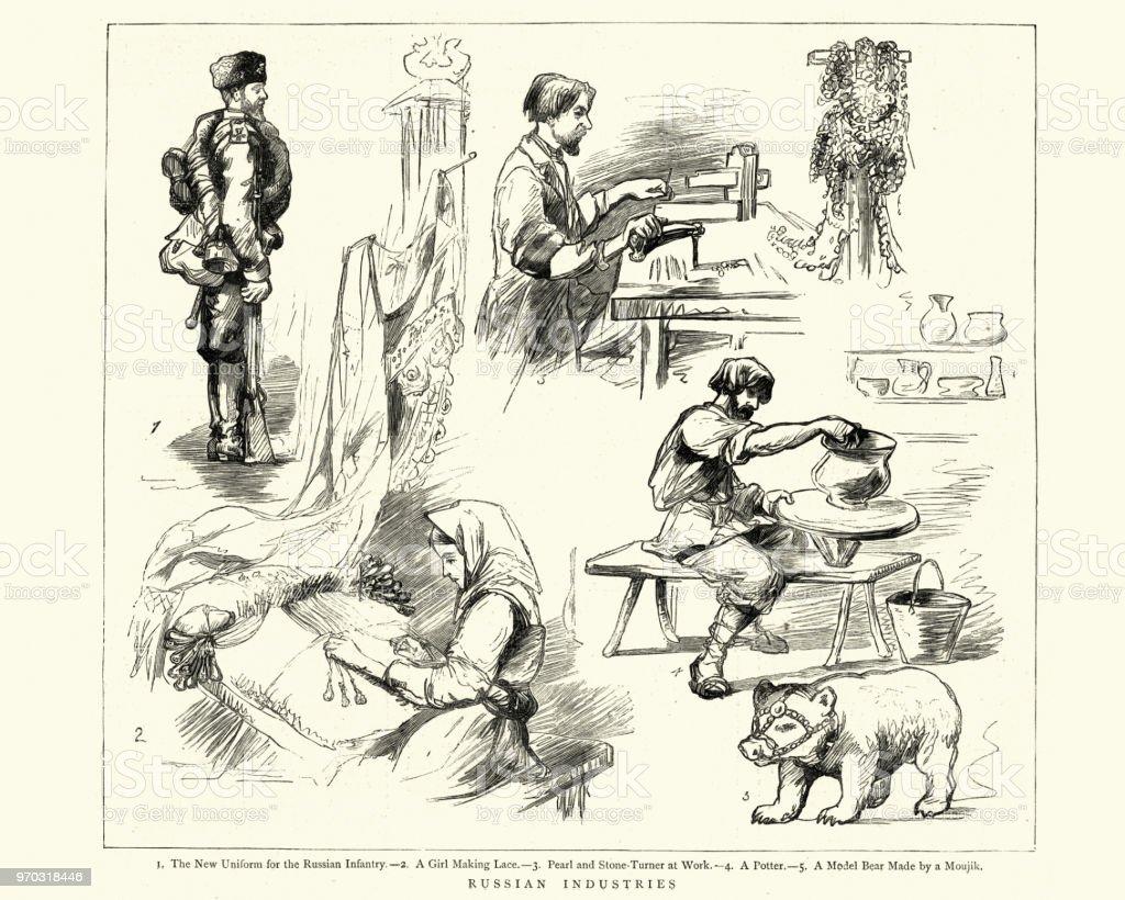 Fabricante de ocupaciones ruso, soldado, encaje, Turner piedra, Potter - ilustración de arte vectorial