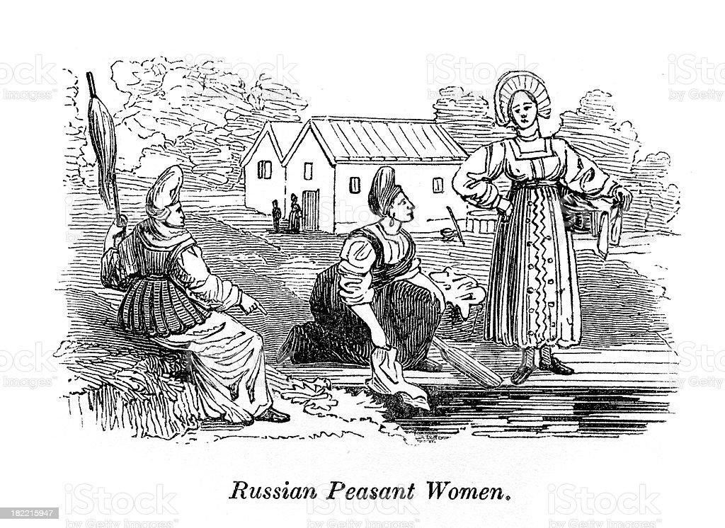 Russian Peasant Woman Vintage Engraving vector art illustration