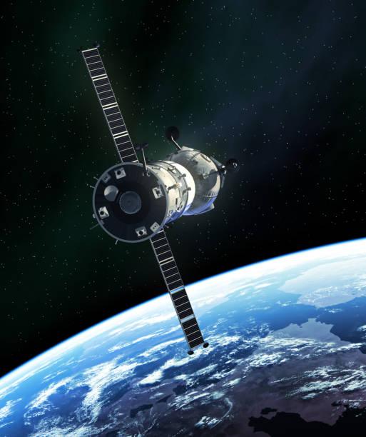 ロシアの宇宙船が宇宙空間で - 宇宙探検点のイラスト素材/クリップアート素材/マンガ素材/アイコン素材