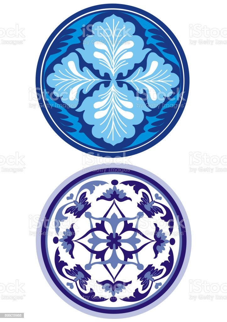 russian style blue ornament royalty-free stock vector art