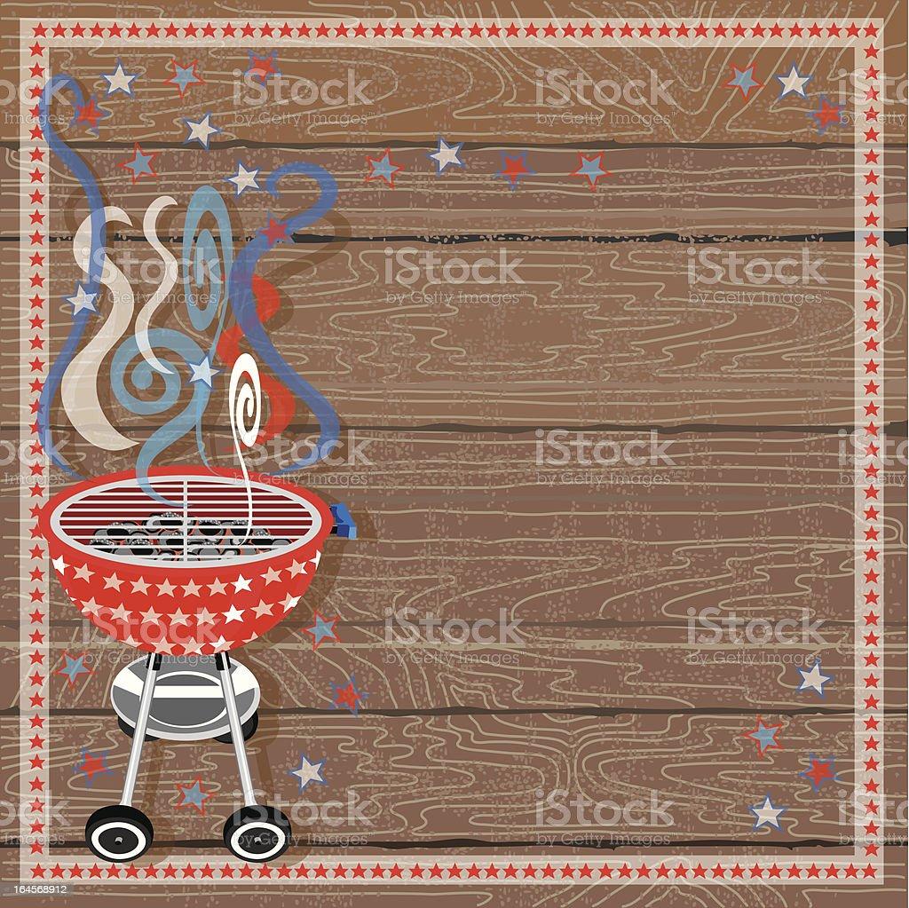 Rustic Patriotic BBQ Grill vector art illustration