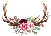 素朴な水彩花の角の花束