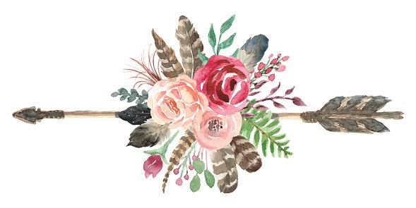 Rustic Watercolor Floral Arrow Bouquet