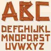 """Grunge Wooden Font, Vector Set of Latin Letters."""