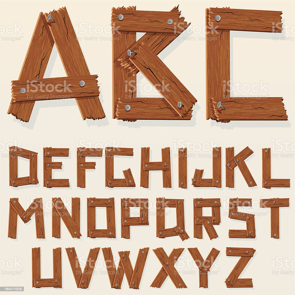 Rustic wooden alphabet vector art illustration