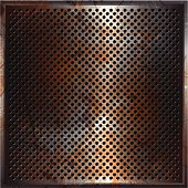 Grunge style rusty perforated metal background.