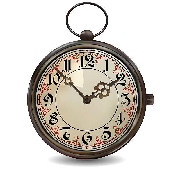 Rusty Pocket Watch vector art illustration