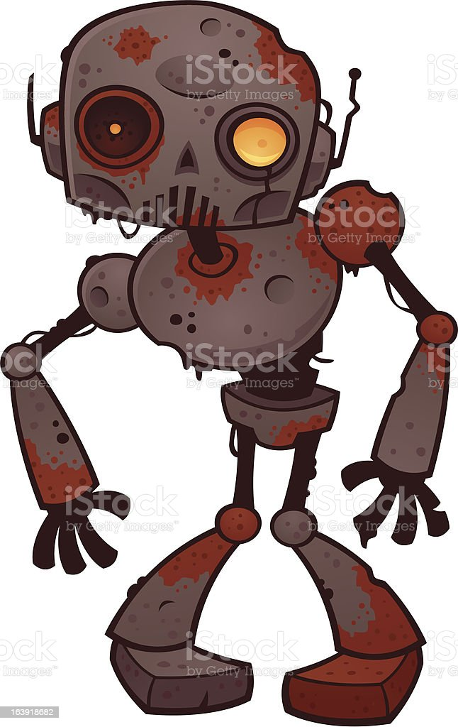 Rusty Zombie Robot vector art illustration