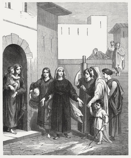 ruth returns with naomi (ruth 1), wood engraving, published 1886 - ruth stock illustrations