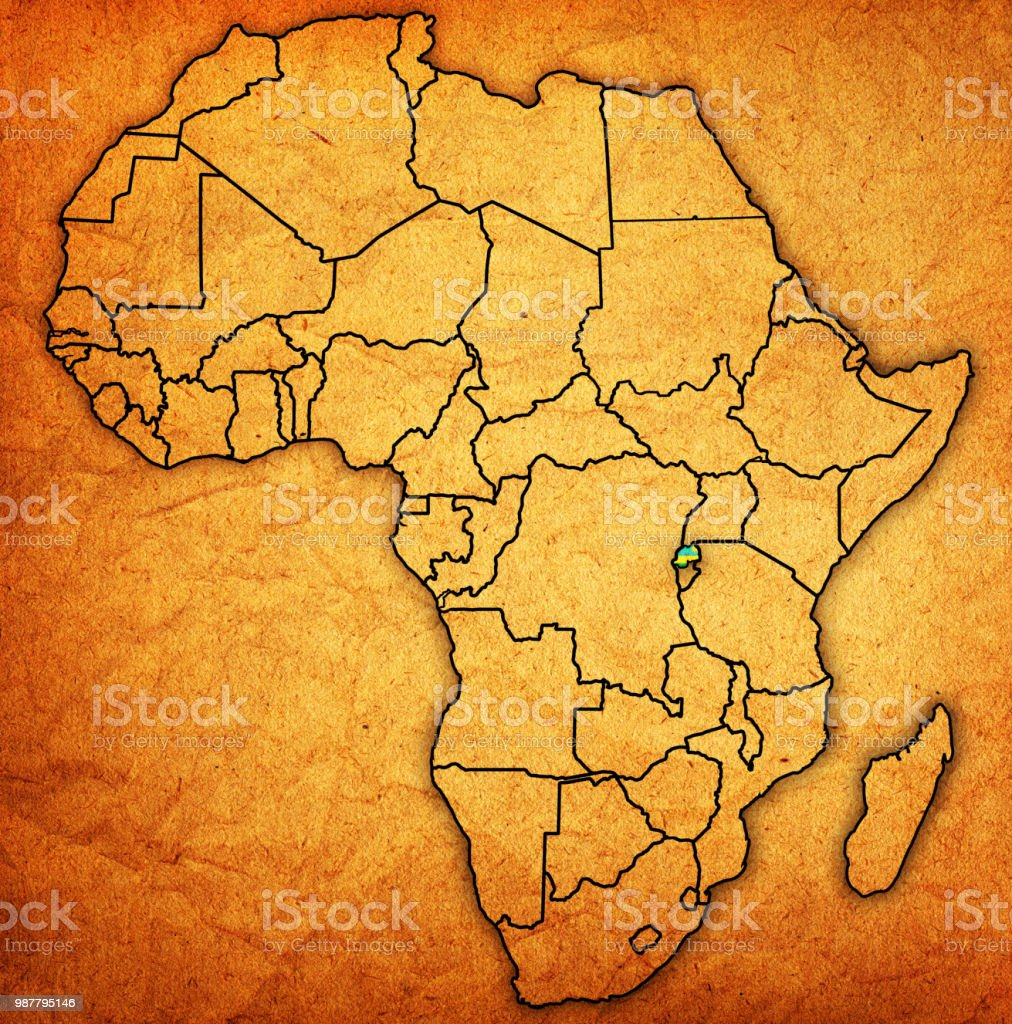 Rwanda On Actual Vintage Political Map Of Africa Stock Vector Art