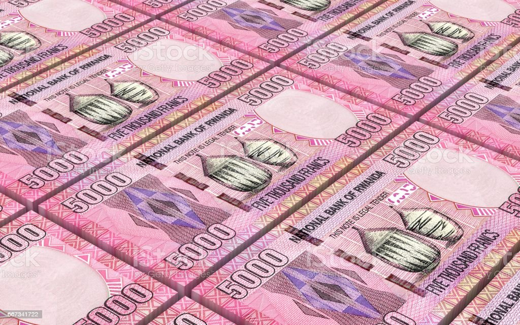 Rwandan francs bills vector art illustration