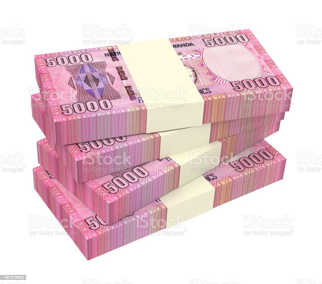 Rwandan francs isolated on white vector art illustration