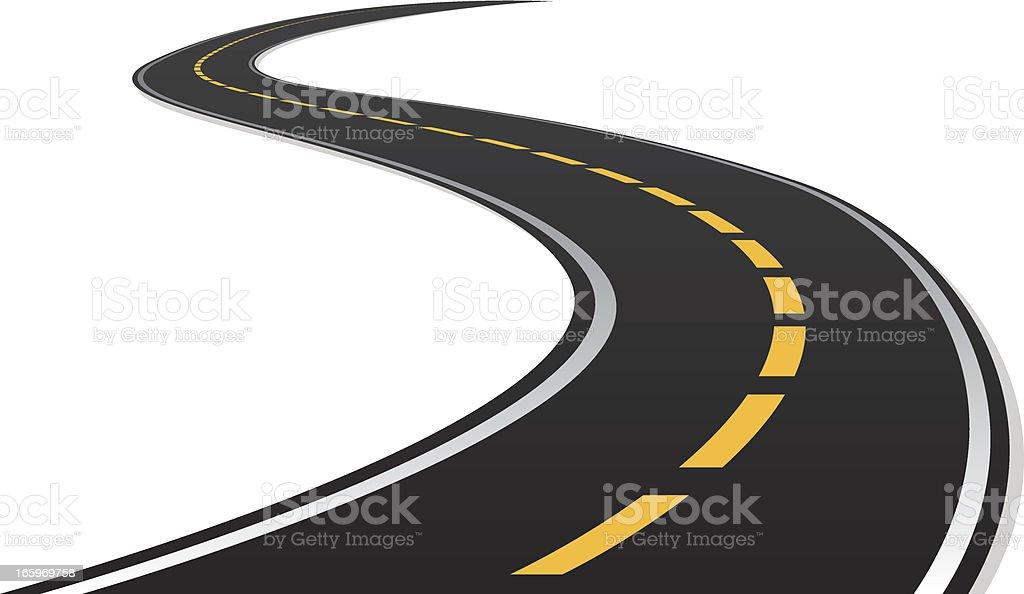 s curve road vector art illustration