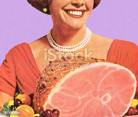 istock 1950's housewife holding a ham dinner, smiling 187100854