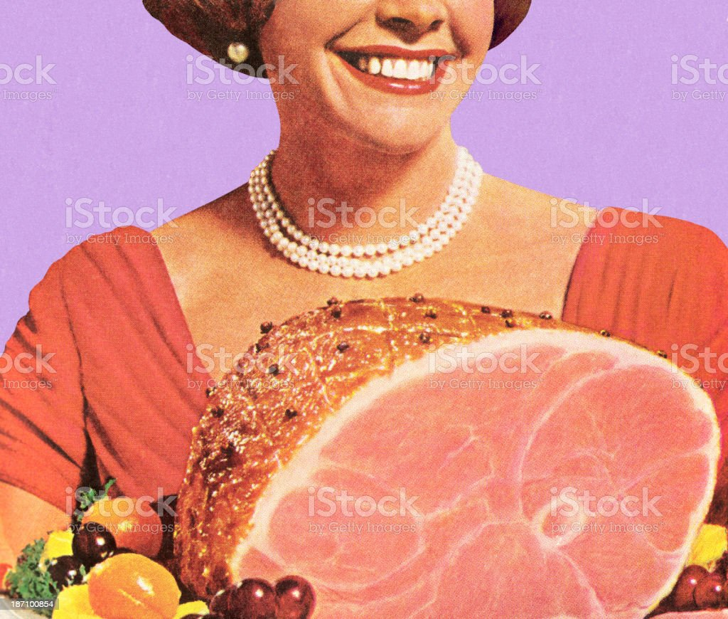 1950's housewife holding a ham dinner, smiling vector art illustration