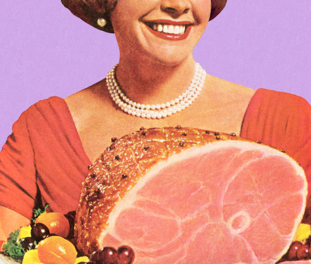 1950's housewife holding a ham dinner, smiling - woman cooking stock illustrations
