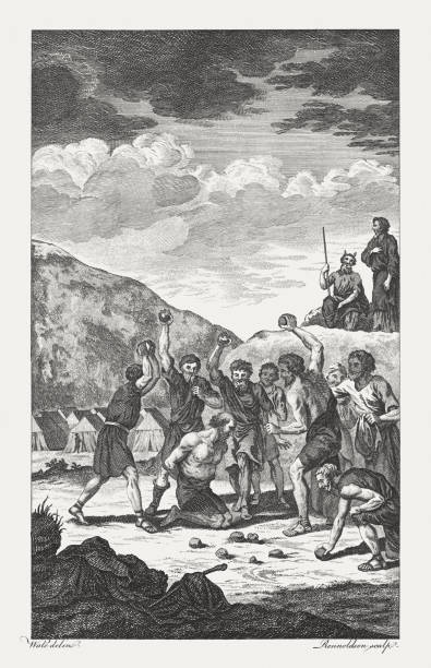 Sabbath-Breaker Stoned to Death (Numbers 15), copperplate engraving, published 1774 The Sabbath-Breaker Stoned to Death (Numbers 15, 32 - 36). Copperplate engraving after a drawing by Samuel Wale (English painter, 1721? - 1786), published in 1774. moses religious figure stock illustrations