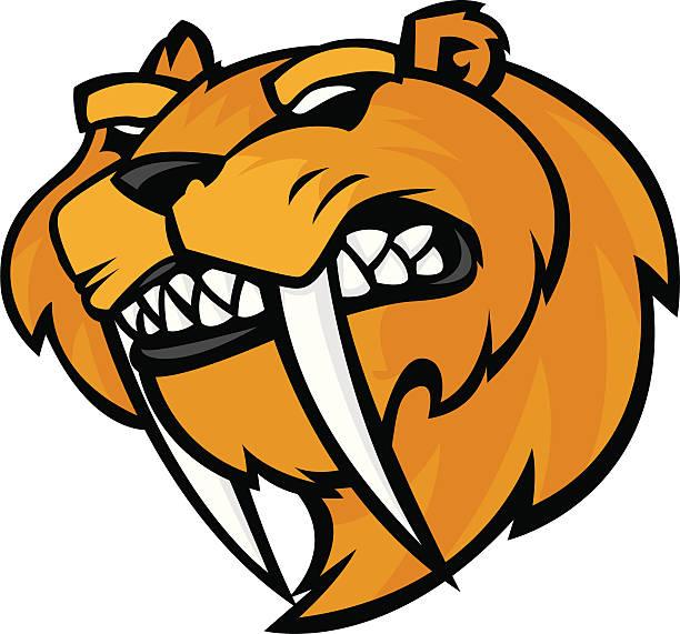 sabretooth tiger-maskottchen sabertooth - eiszeit stock-grafiken, -clipart, -cartoons und -symbole