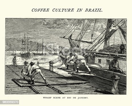 Vintage engraving of Sacks of coffee being loaded on to a ship, Rio de Janeiro, Brazil, 19th Century