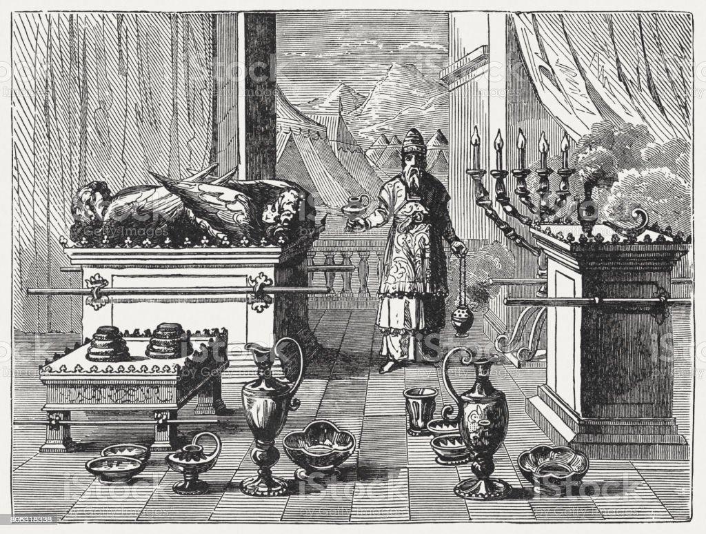 Sacred Devices of Tabernacle (Exodus 37), wood engraving, published 1886 vector art illustration