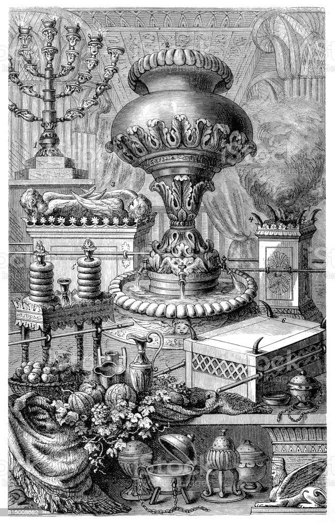 Sacred equipment of the Jews, vector art illustration